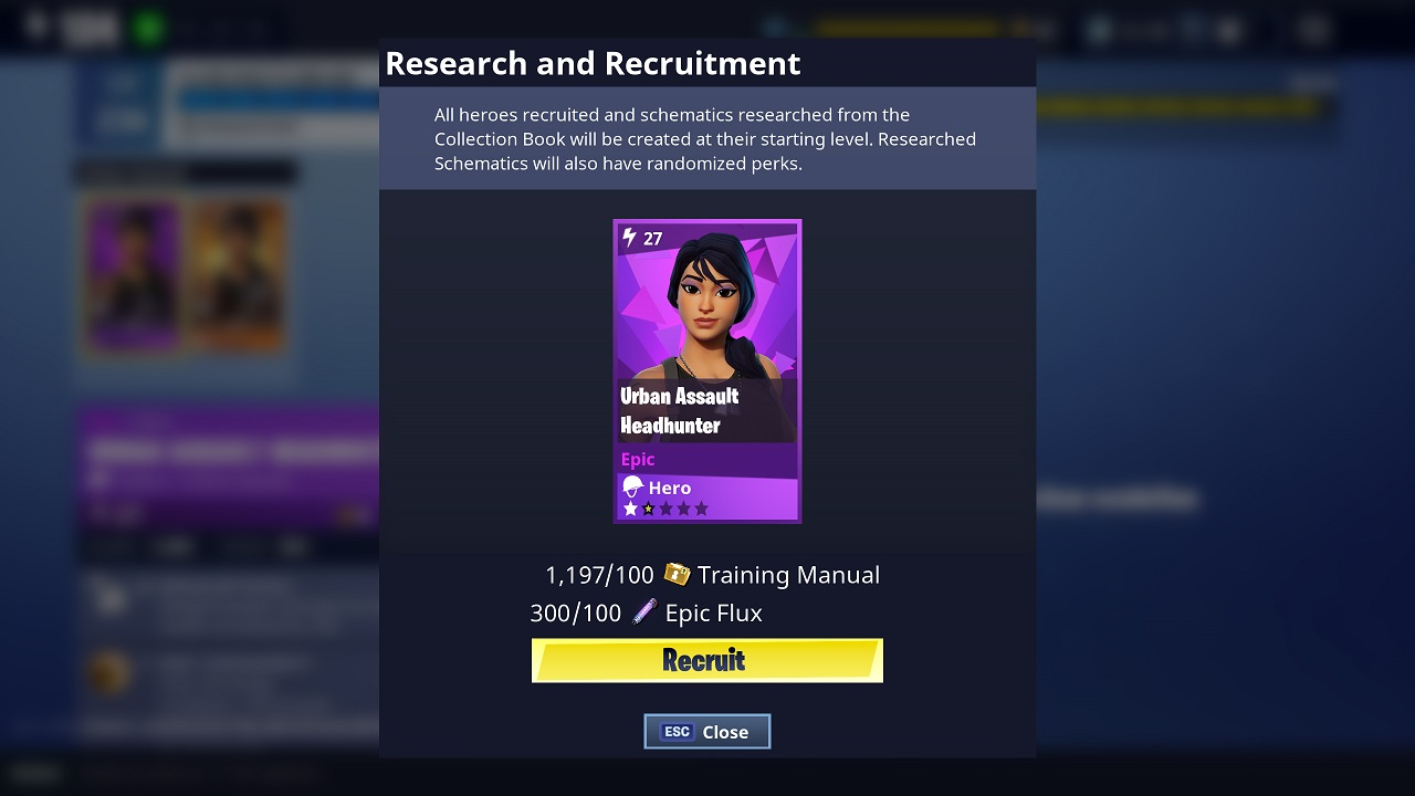 fortnite recrutement colection