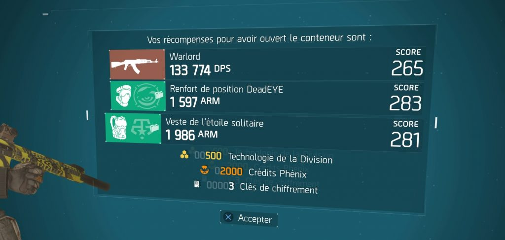 the division récompense bouclier