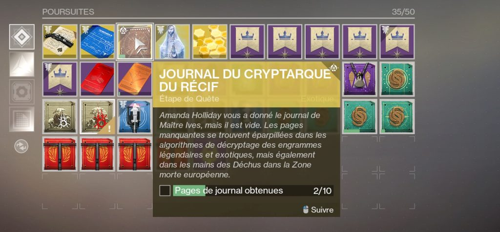 Destiny 2 journal cryptarque