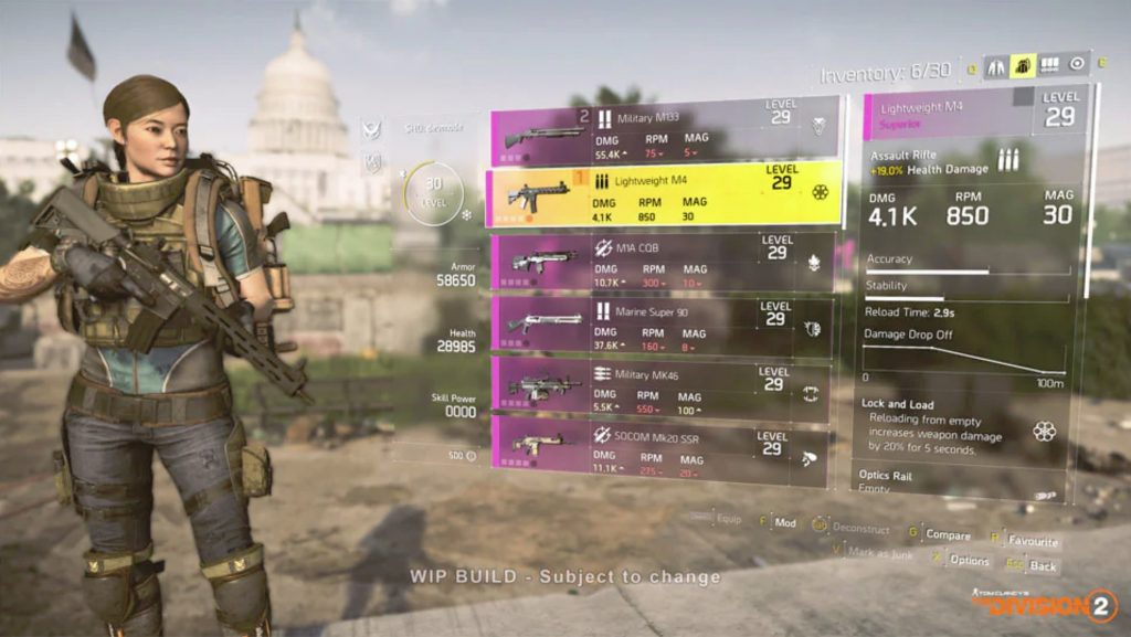 the division 2 armes