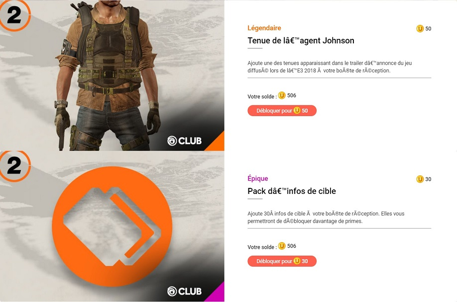 the division 2 récompenses