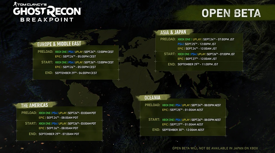 ghost recon beta ouverte date heure