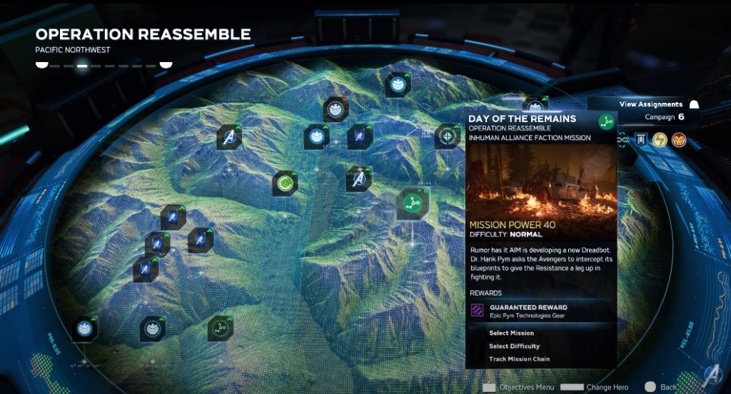 marvel avengers missions arzone selection