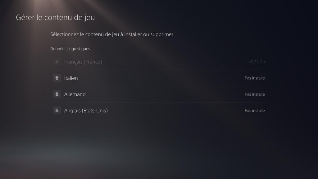 ps5 option installation jeux